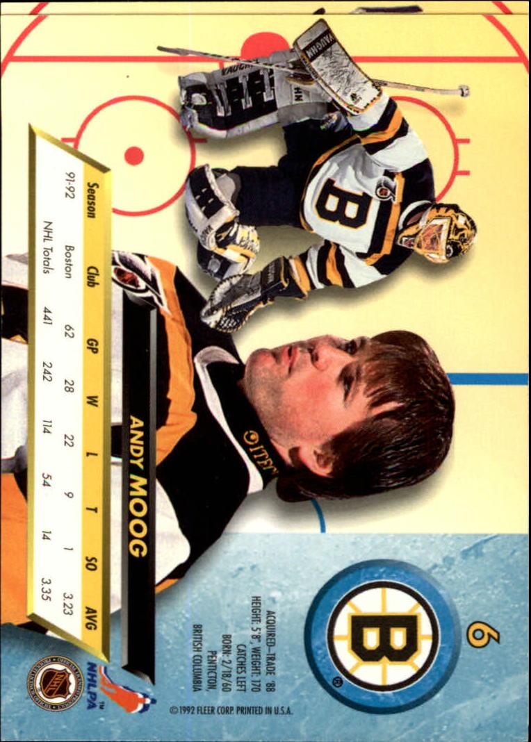1992-93 Ultra #6 Andy Moog back image