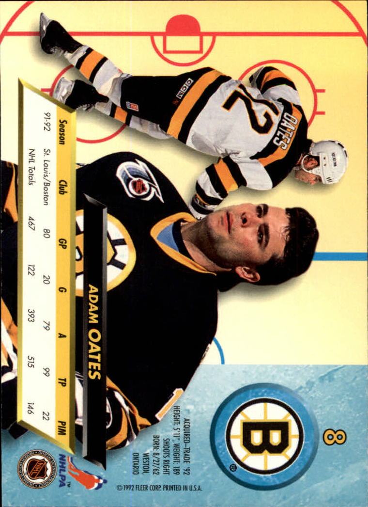1992-93 Ultra #8 Adam Oates back image