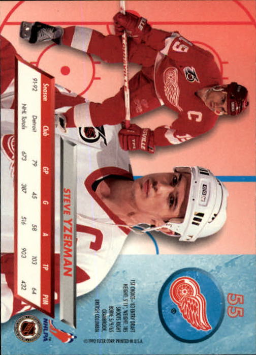 1992-93 Ultra #55 Steve Yzerman back image