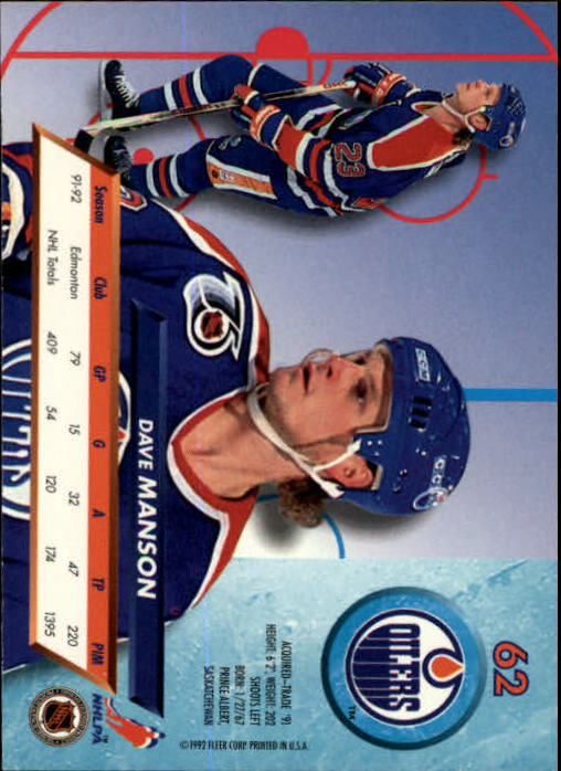 1992-93 Ultra #62 Dave Manson back image