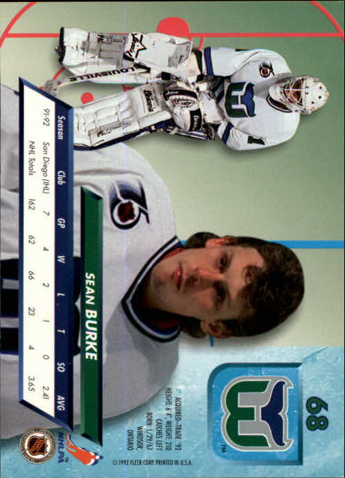 1992-93 Ultra #68 Sean Burke back image