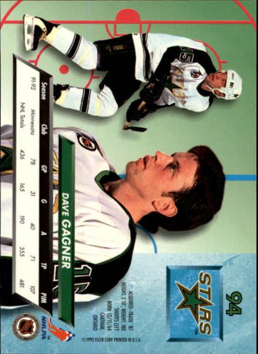 1992-93 Ultra #94 Dave Gagner back image
