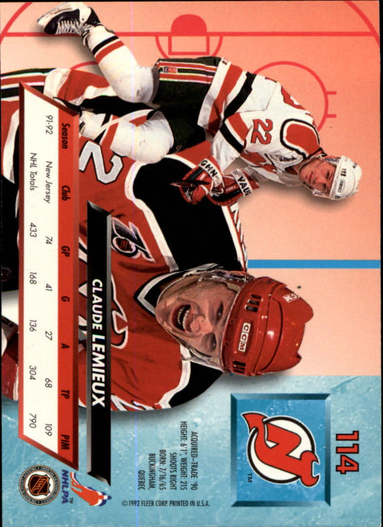 1992-93 Ultra #114 Claude Lemieux back image