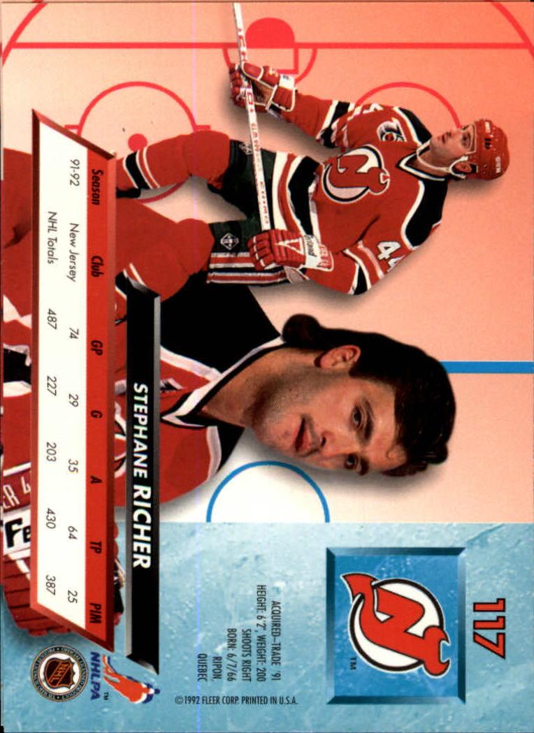 1992-93 Ultra #117 Stephane Richer back image