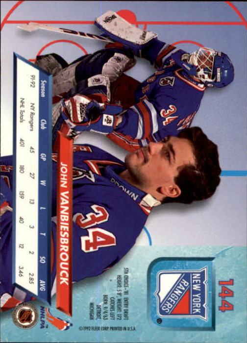 1992-93 Ultra #144 John Vanbiesbrouck back image