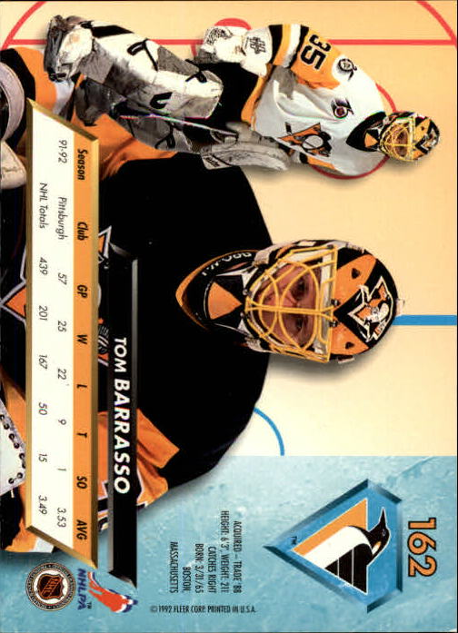 1992-93 Ultra #162 Tom Barrasso back image