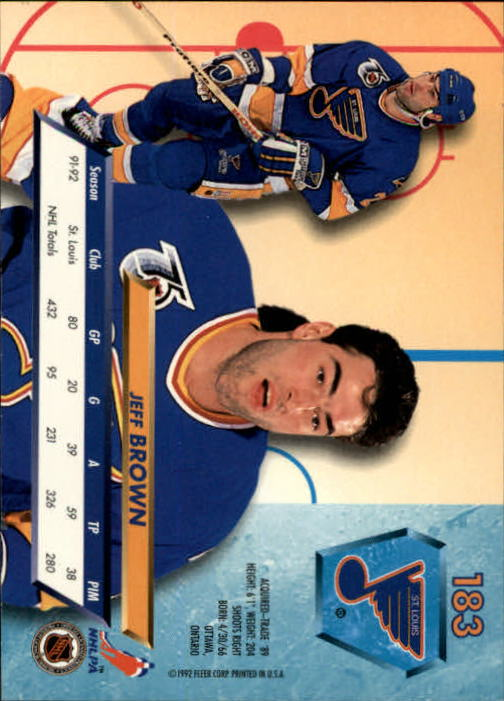 1992-93 Ultra #183 Jeff Brown back image