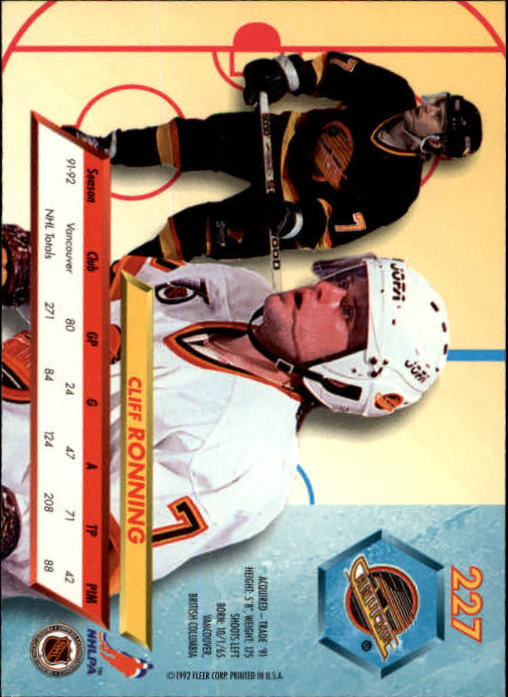 1992-93 Ultra #227 Cliff Ronning back image