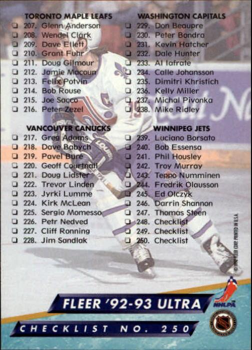 1992-93-Ultra-Hockey-1-250-Your-Choice-GOTBASEBALLCARDS thumbnail 497