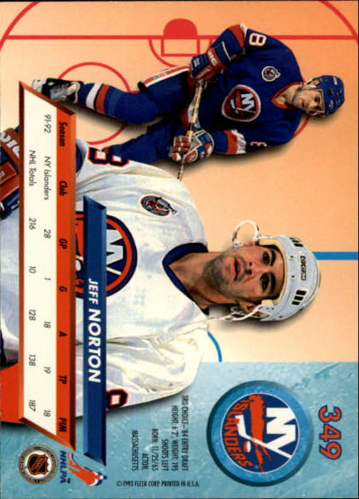 1992-93 Ultra #349 Jeff Norton back image