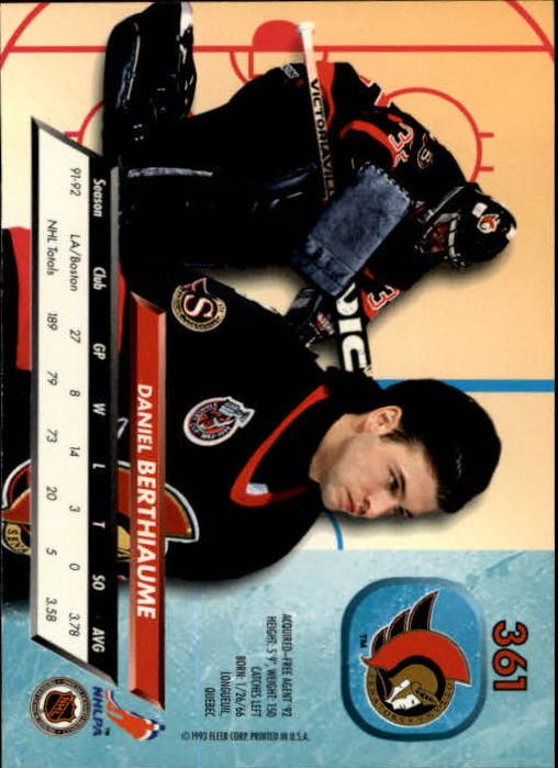 1992-93 Ultra #361 Daniel Berthiaume back image
