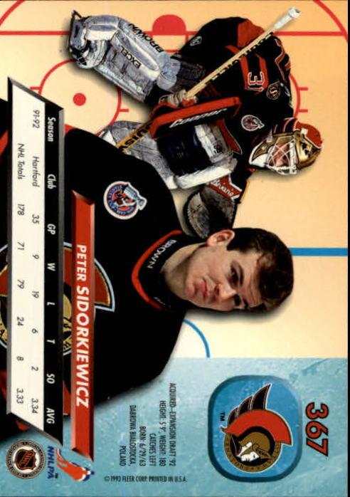 1992-93 Ultra #367 Peter Sidorkiewicz back image