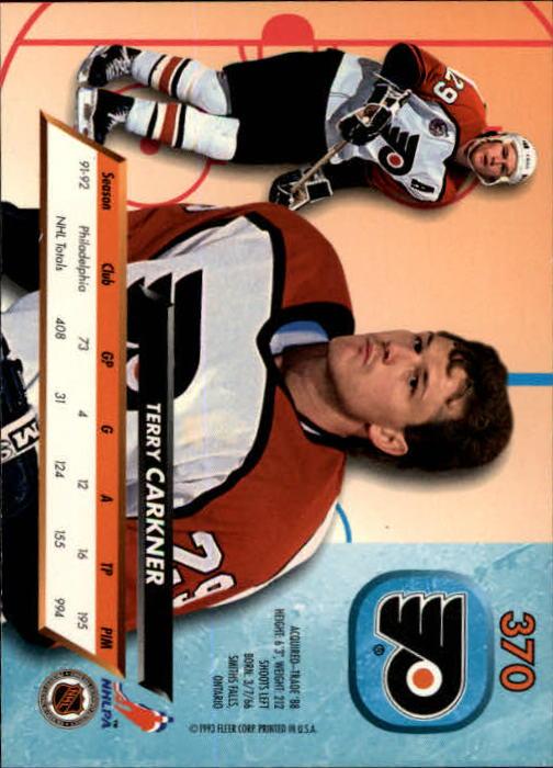 1992-93 Ultra #370 Terry Carkner back image