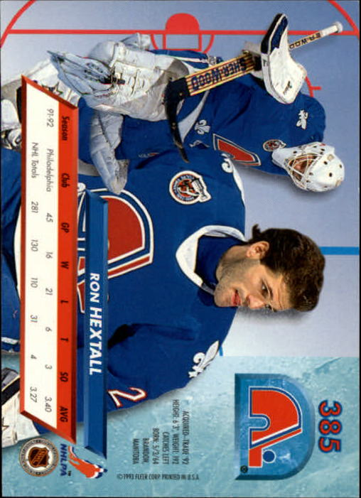 1992-93 Ultra #385 Ron Hextall back image
