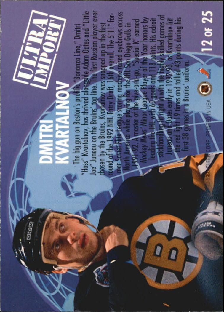 1992-93 Ultra Imports #12 Dmitri Kvartalnov back image