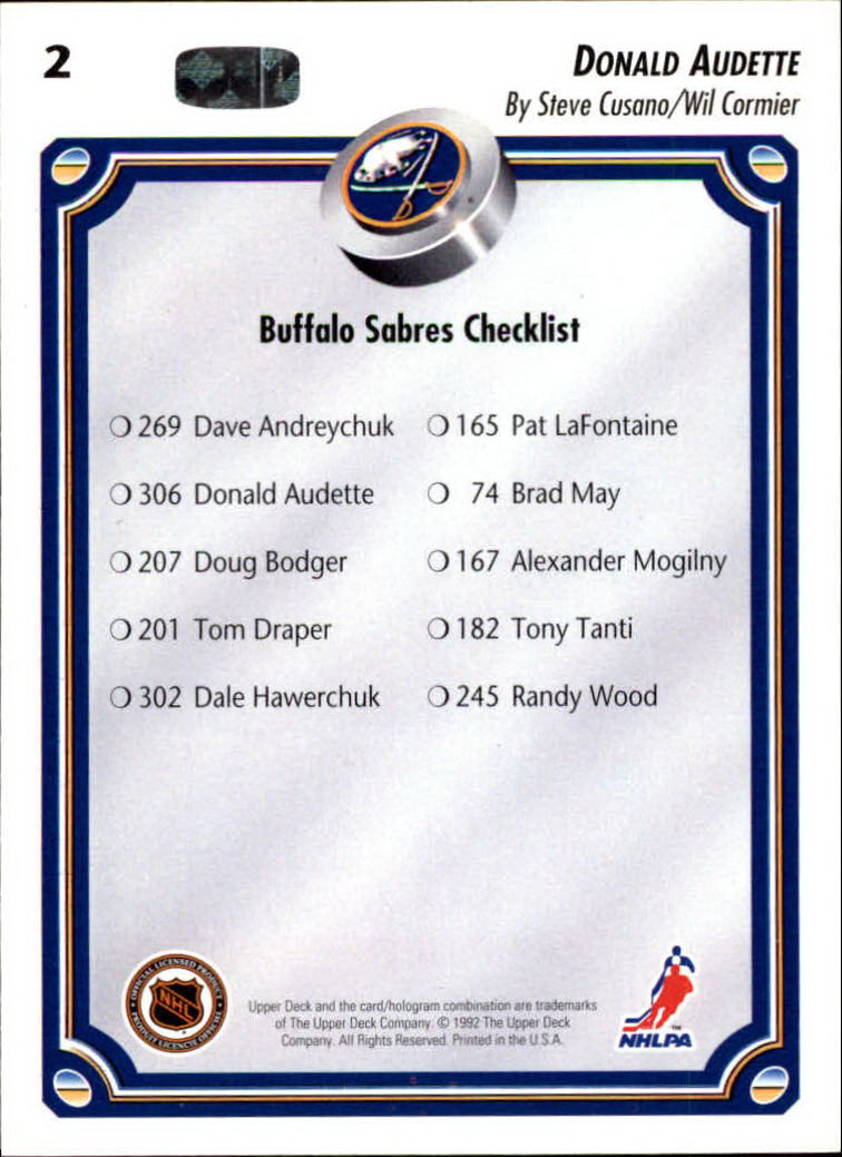 1992-93 Upper Deck #2 Donald Audette TC back image