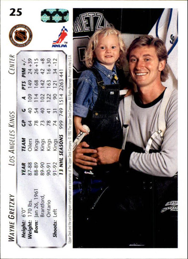 1992-93 Upper Deck #25 Wayne Gretzky back image