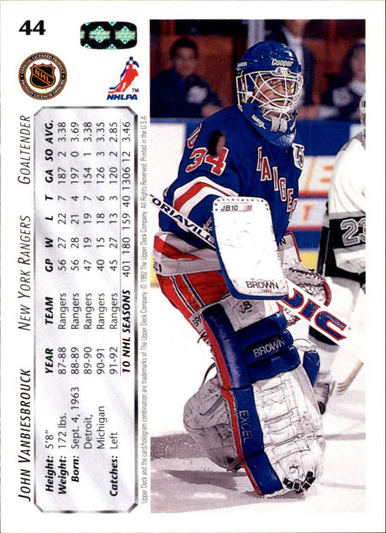 1992-93 Upper Deck #44 John Vanbiesbrouck back image