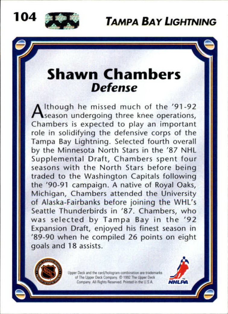 1992-93 Upper Deck #104 Shawn Chambers back image