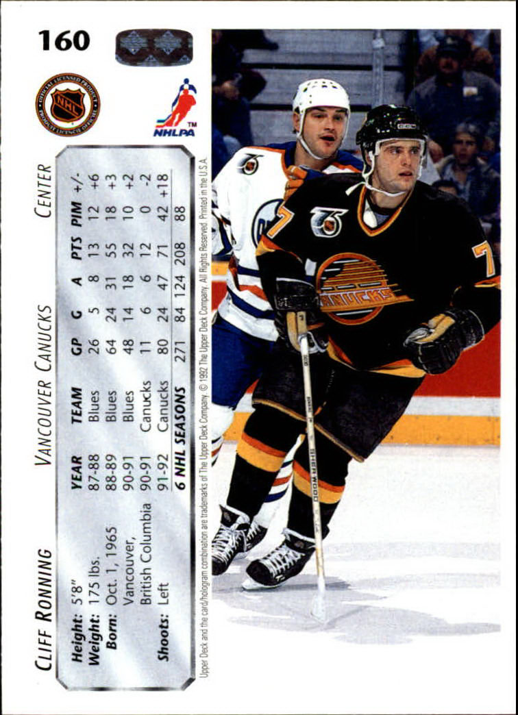 1992-93 Upper Deck #160 Cliff Ronning back image