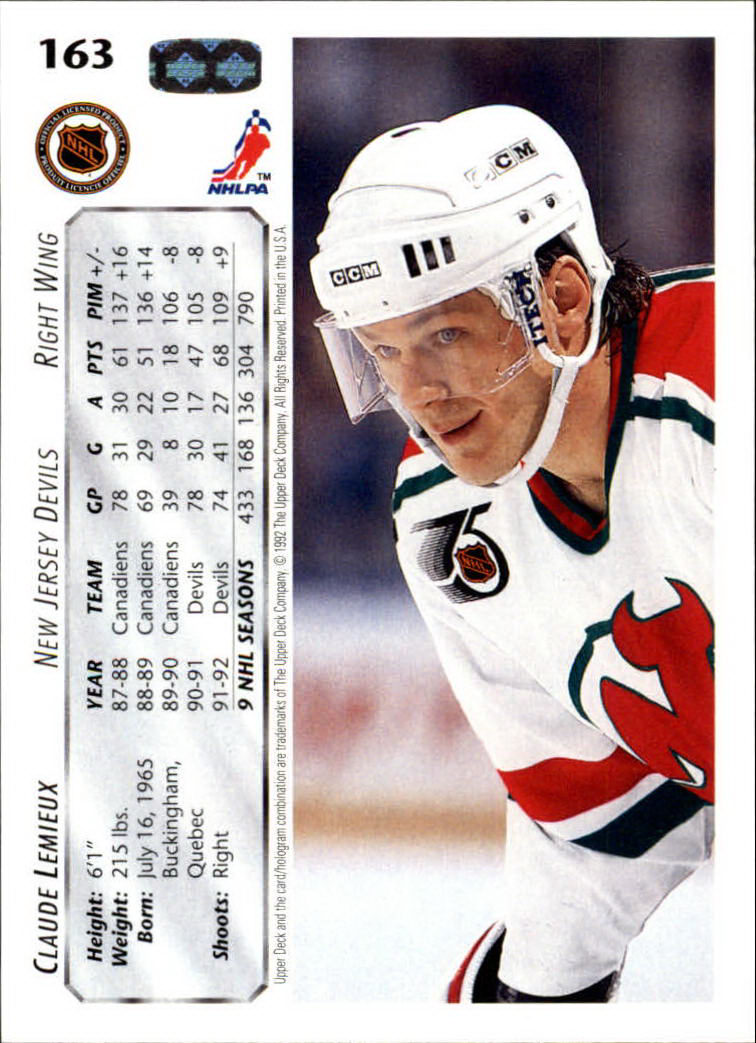 1992-93 Upper Deck #163 Claude Lemieux back image