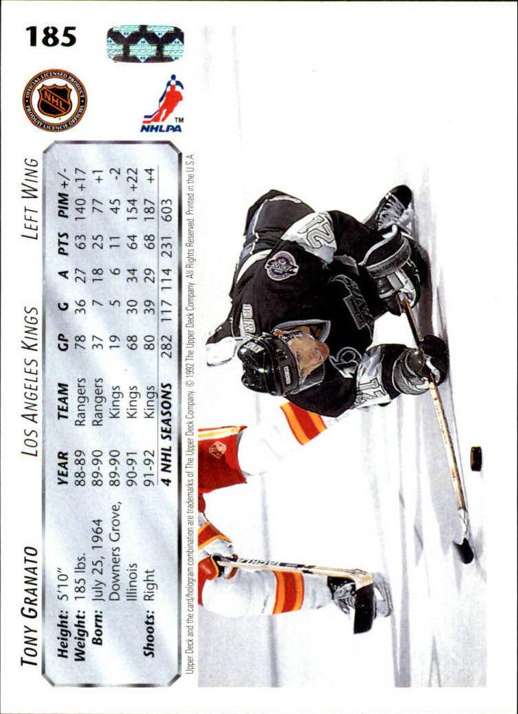 1992-93 Upper Deck #185 Tony Granato back image