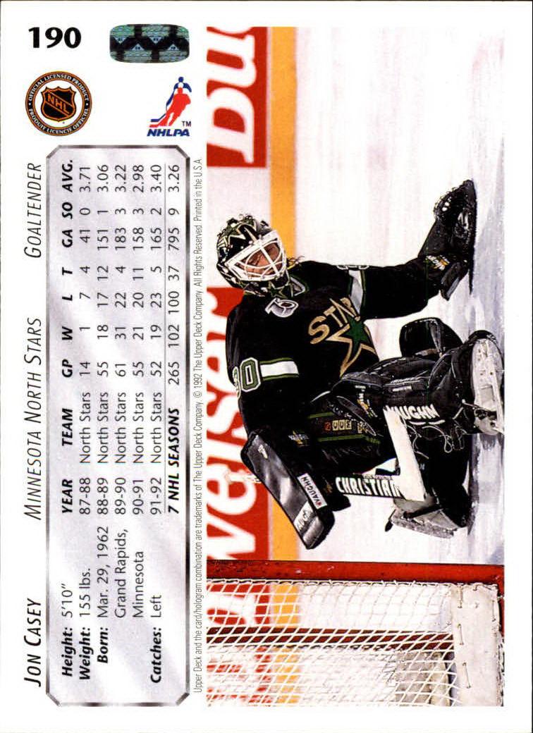 1992-93 Upper Deck #190 Jon Casey back image