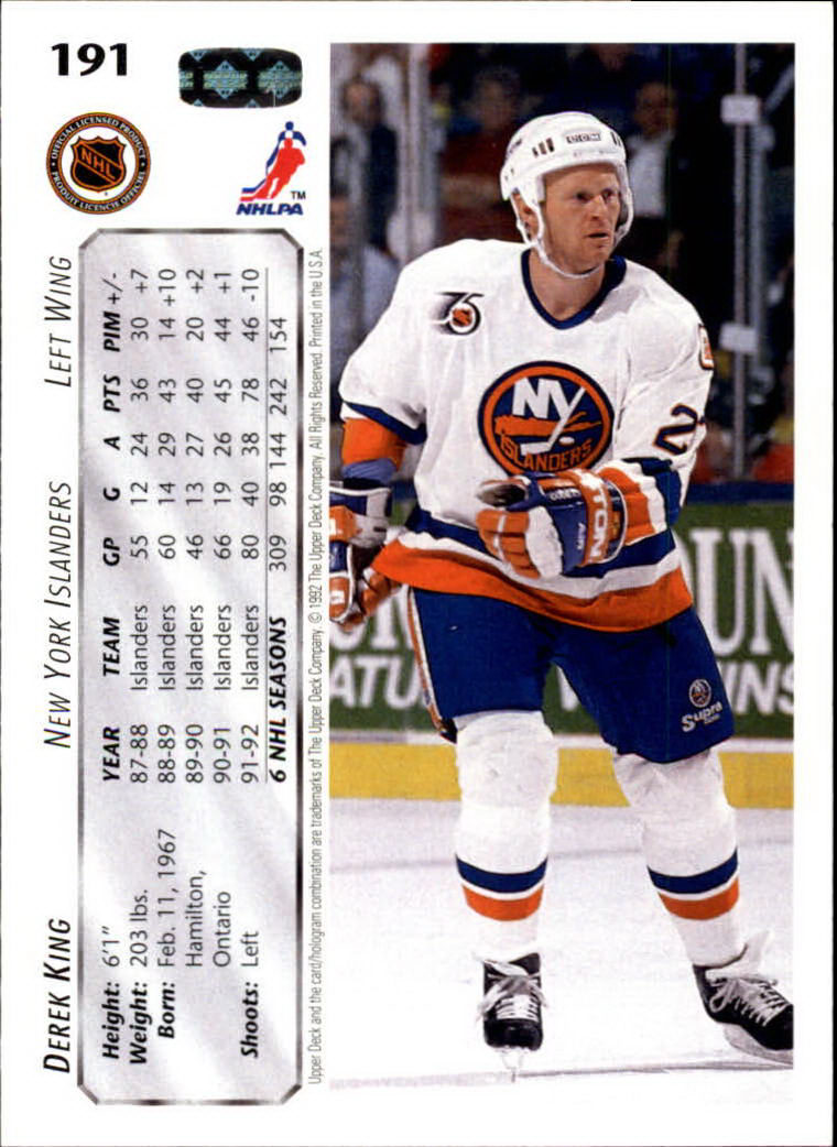 1992-93 Upper Deck #191 Derek King back image