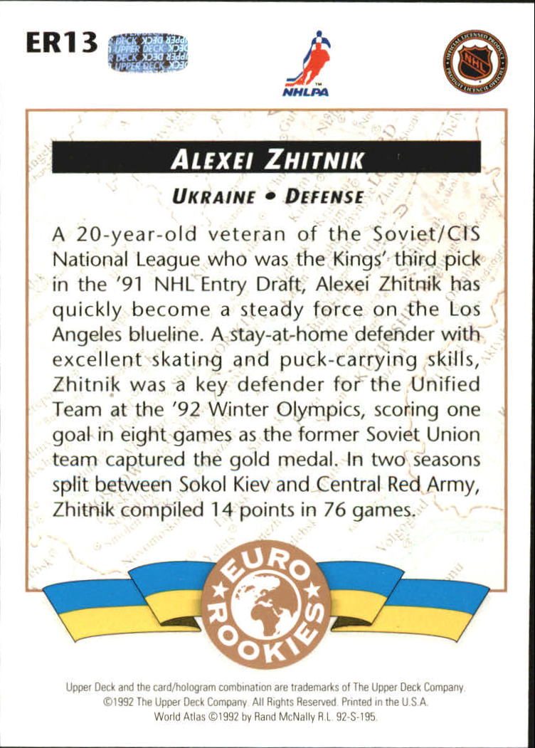 1992-93 Upper Deck Euro-Rookies #ER13 Alexei Zhitnik back image