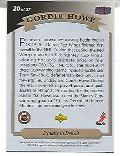 1992-93 Upper Deck Gordie Howe Heroes #20 Gordie Howe/Dynasty in Detroit back image