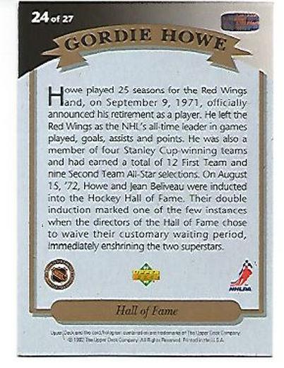 1992-93 Upper Deck Gordie Howe Heroes #24 Gordie Howe/Hall of Fame back image