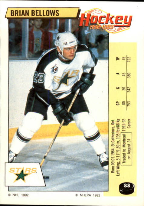 1992-93 Panini Stickers #88 Brian Bellows