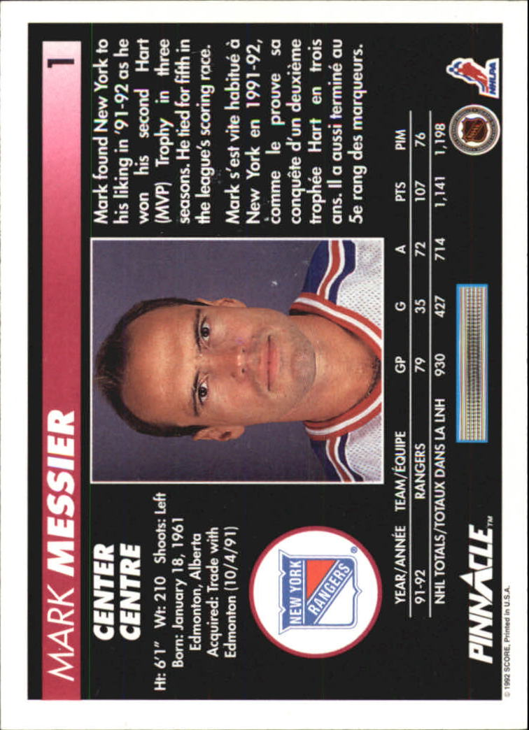 1992-93 Pinnacle French #1 Mark Messier back image