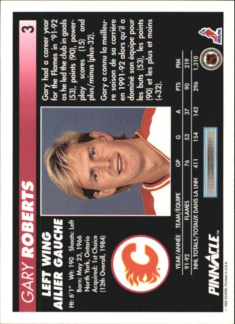 1992-93 Pinnacle French #3 Gary Roberts back image