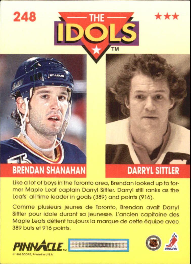 1992-93 Pinnacle French #248 Brendan Shanahan IDOL/(Darryl Sittler) back image