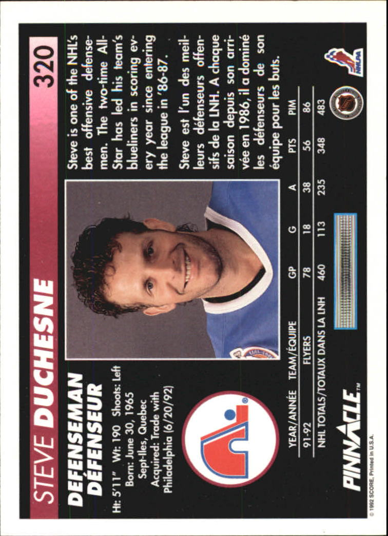 1992-93 Pinnacle French #320 Steve Duchesne back image