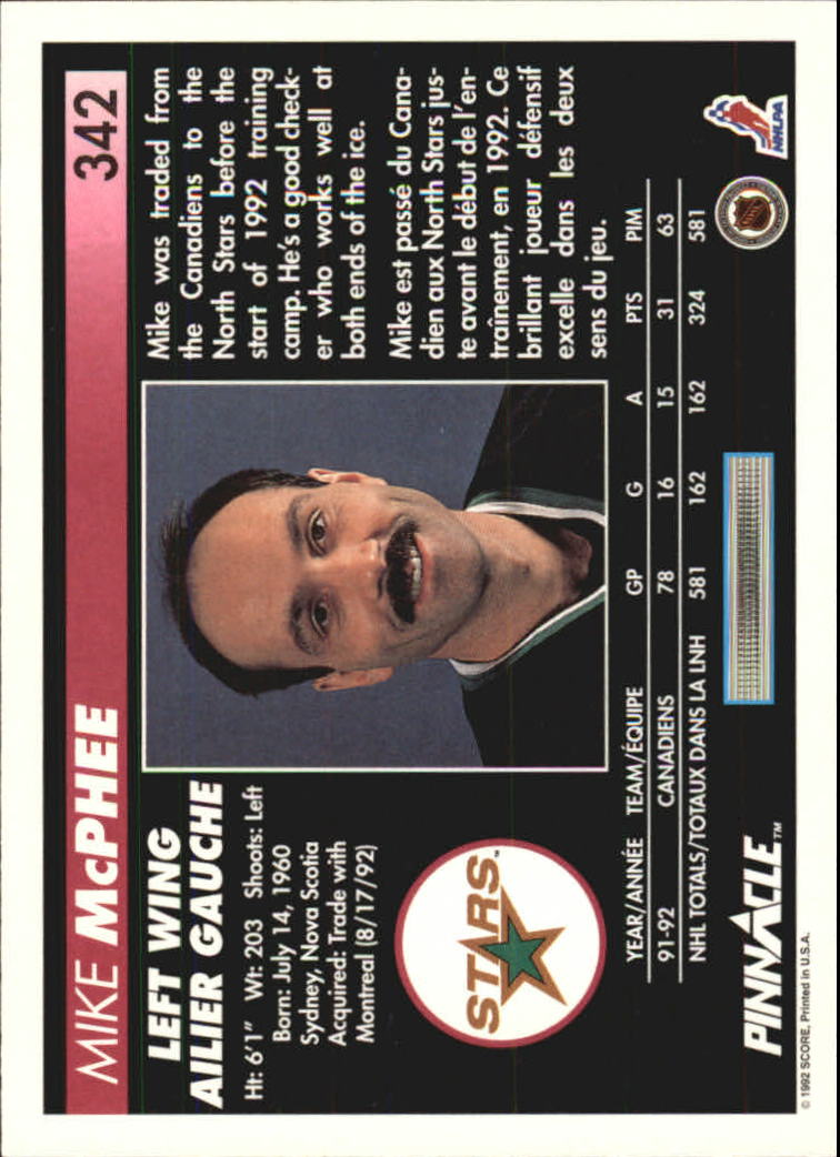 1992-93 Pinnacle French #342 Mike McPhee back image