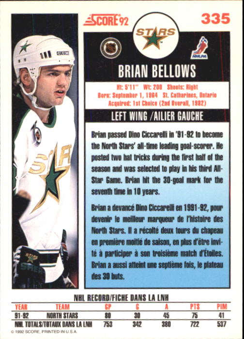 1992-93 Score Canadian #335 Brian Bellows back image