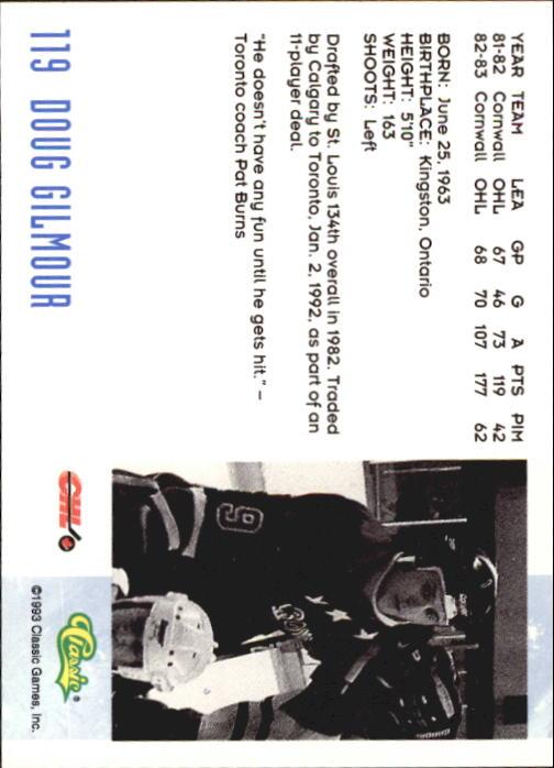 1993 Classic #119 Doug Gilmour back image