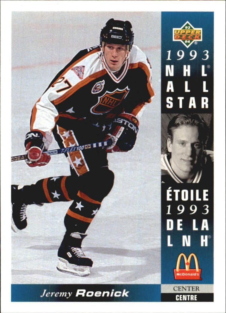1993-94 McDonald s Upper Deck Chicago Blackhawks Hockey Card  12 Jeremy  Roenick 925cbcb5c