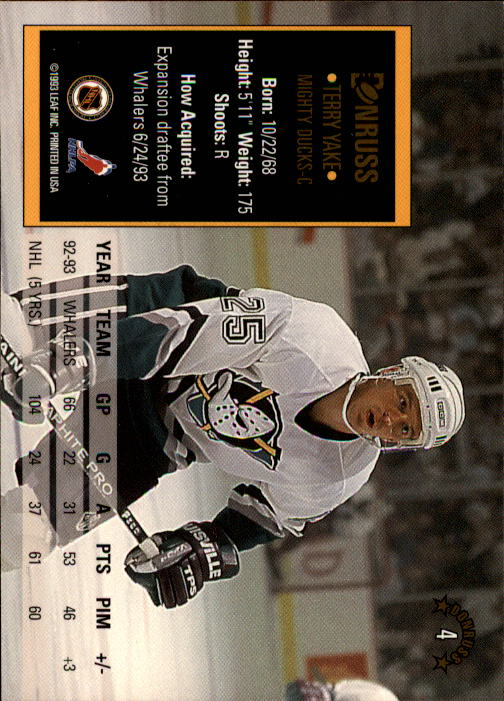 1993-94 Donruss #4 Terry Yake back image