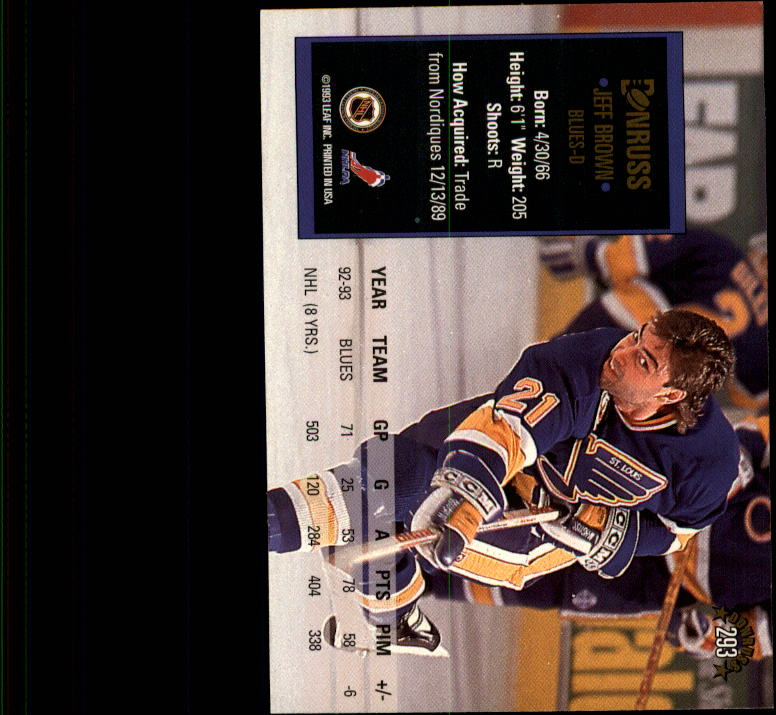 1993-94 Donruss #293 Jeff Brown back image