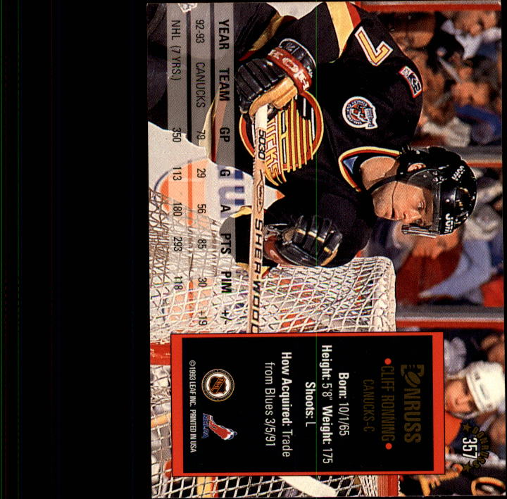 1993-94 Donruss #357 Cliff Ronning back image
