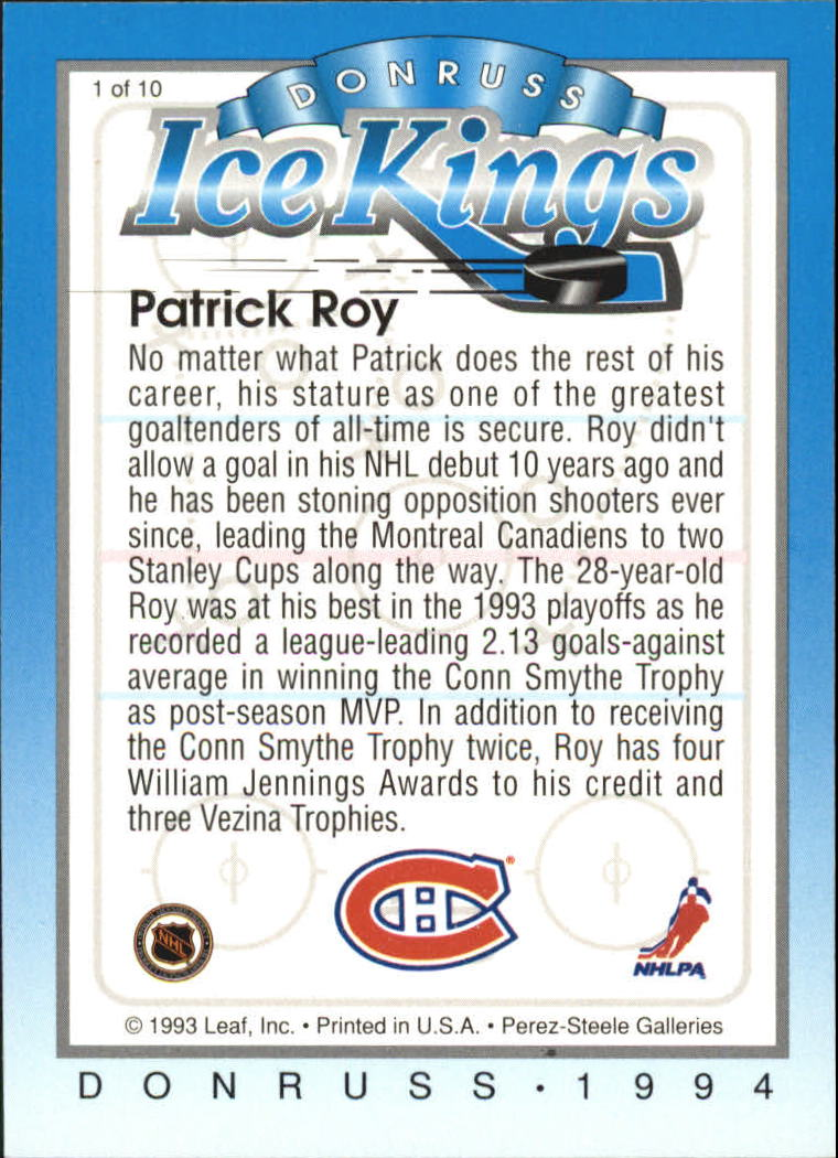 1993-94 Donruss Ice Kings #1 Patrick Roy back image