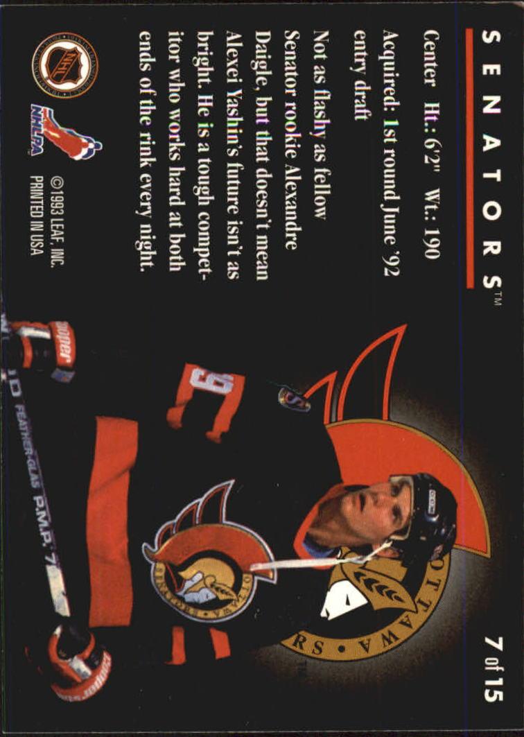 1993-94 Donruss Rated Rookies #7 Alexei Yashin back image