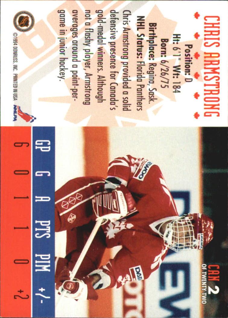 1993-94 Donruss Team Canada #2 Chris Armstrong back image