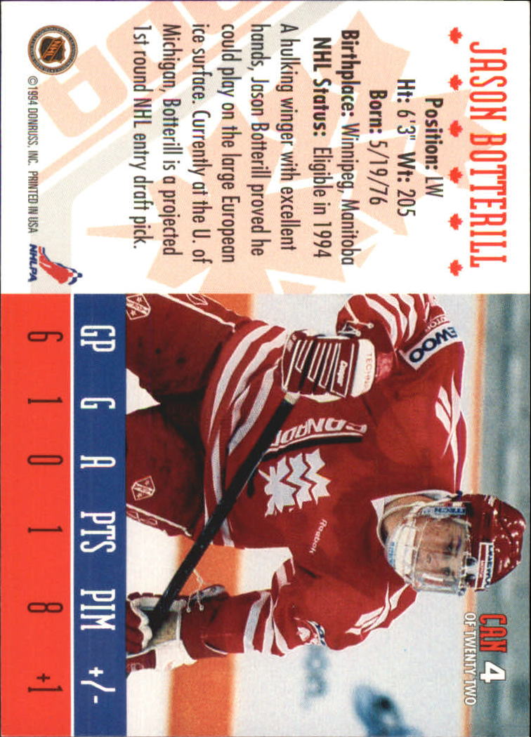 1993-94 Donruss Team Canada #4 Jason Botterill back image