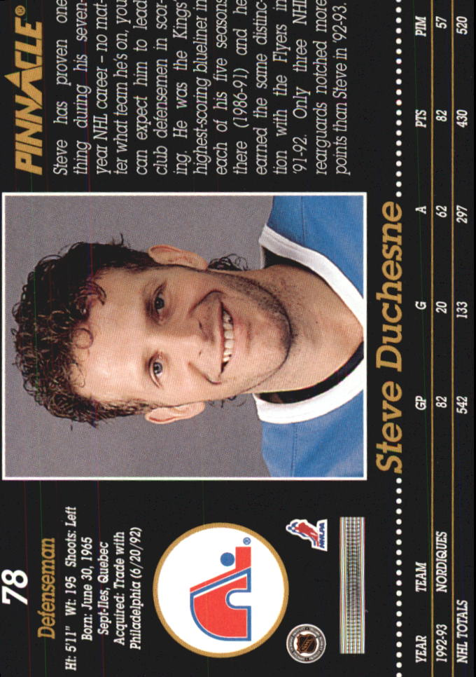 1993-94 Pinnacle #78 Steve Duchesne back image