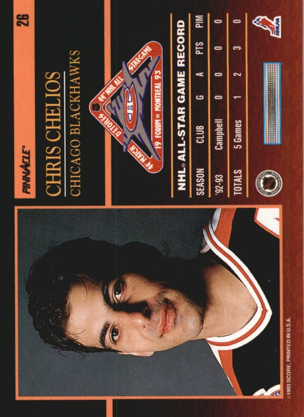 1993-94 Pinnacle All-Stars #26 Chris Chelios back image