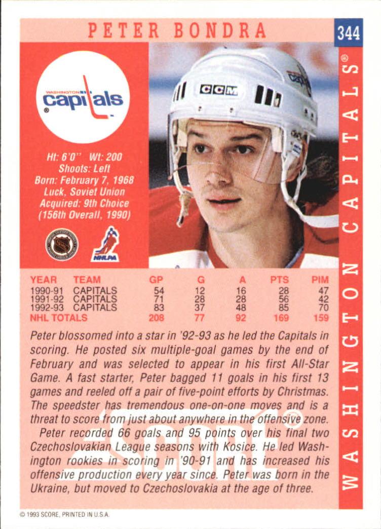 1993-94 Score #344 Peter Bondra back image